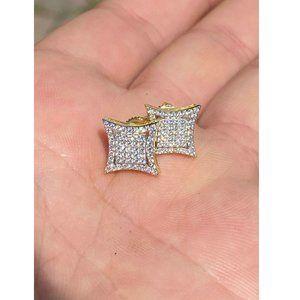 Harlembling 14k Gold Silver Square Kite Earrings